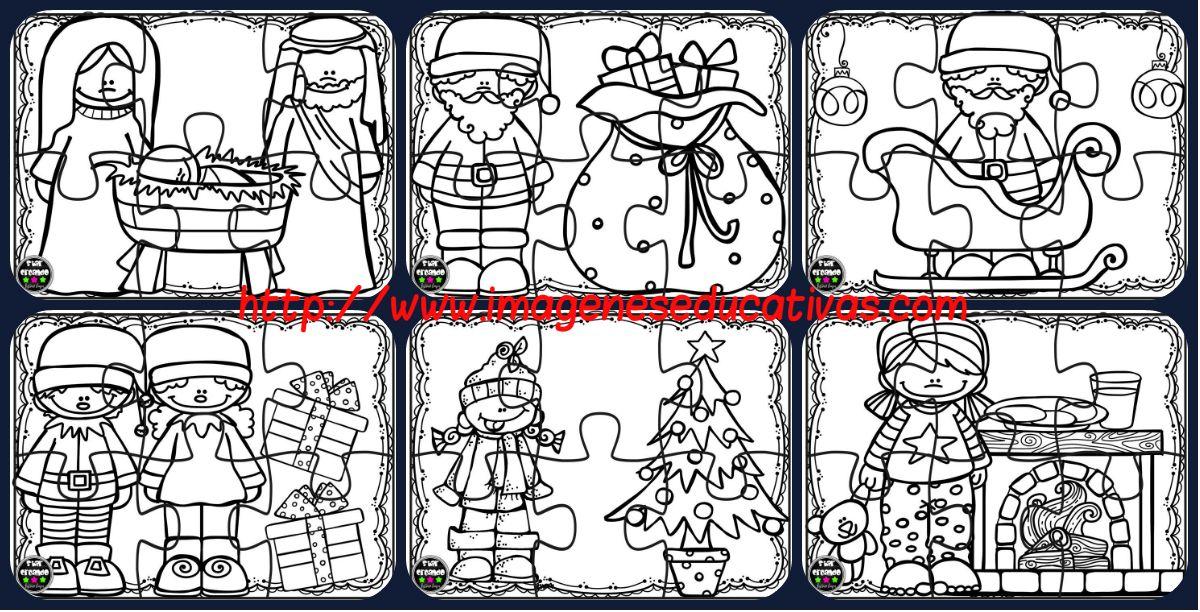 Libreta Para Niños Con 25 Dibujos Para Colorear: Puzzles De Navidad Para Colorear Imprimir, Recortar