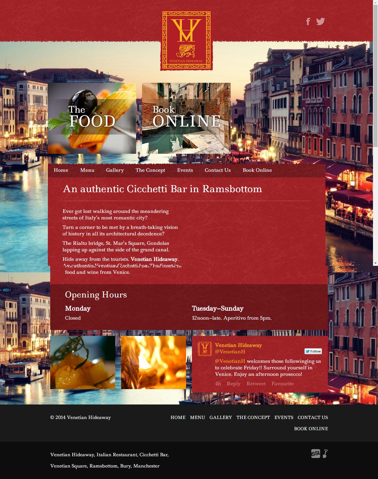 Venetian Hideaway Italian Restaurant In Ramsbottom Webdesign Italian Restaurant Web Design Website Design