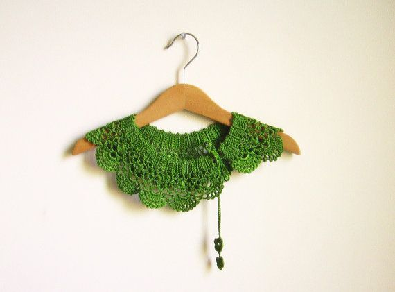 Collar Necklace, Peter Pan Collar Necklace, crochet collar, Green, tender shoots  lace collar, for her. Bridesmaid.