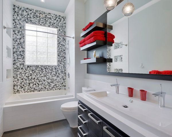 Red Accents In A Black And White Bathroom Bathroom Red Black Bathroom Decor Black Bathroom