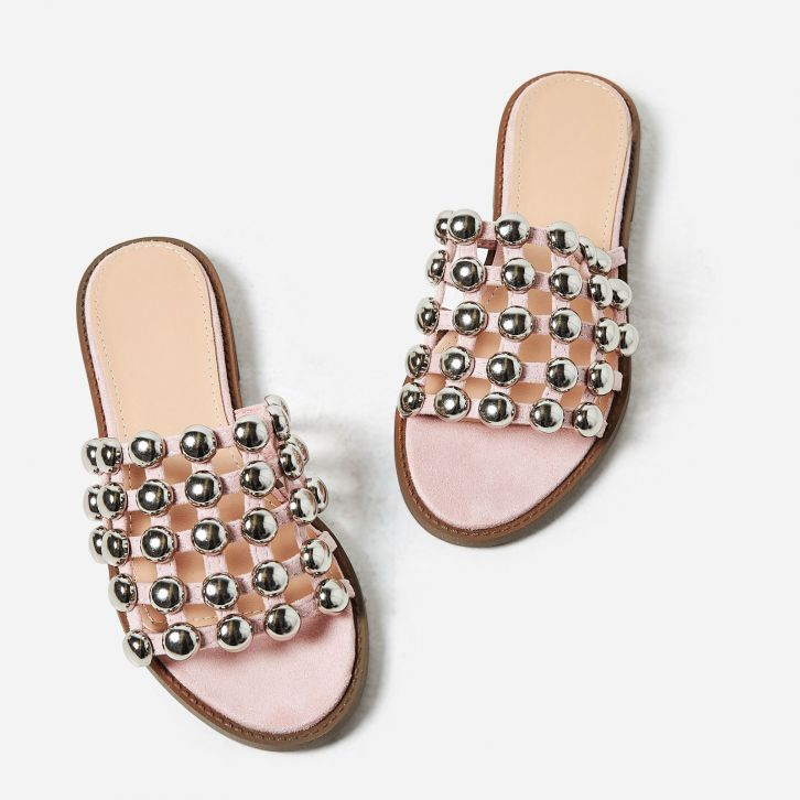 c4dfde13098 Hazel Silver Studded Detail Slider In Blush Faux Suede