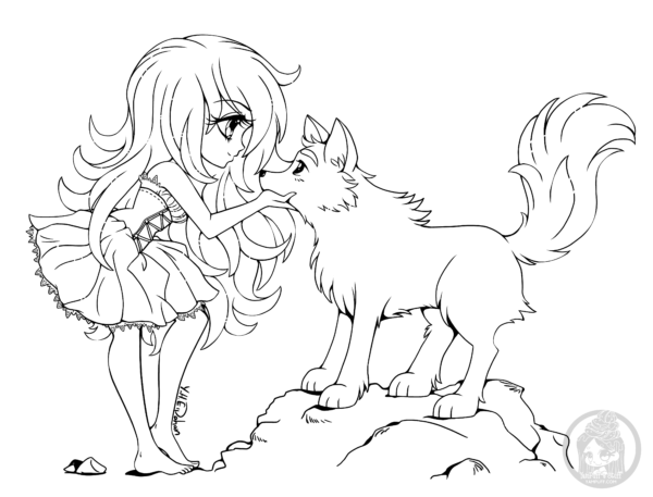 Chibi With Wolf By Yampuff Chibi Coloring Pages Wolf Colors Anime Wolf Girl