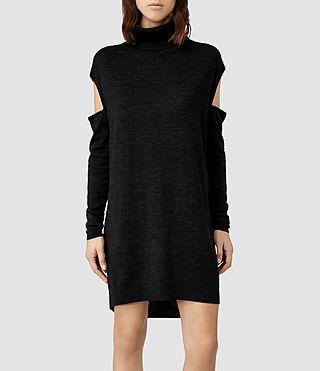 Womens Elion Funnel Dress (Cinder Marl) | ALLSAINTS.com