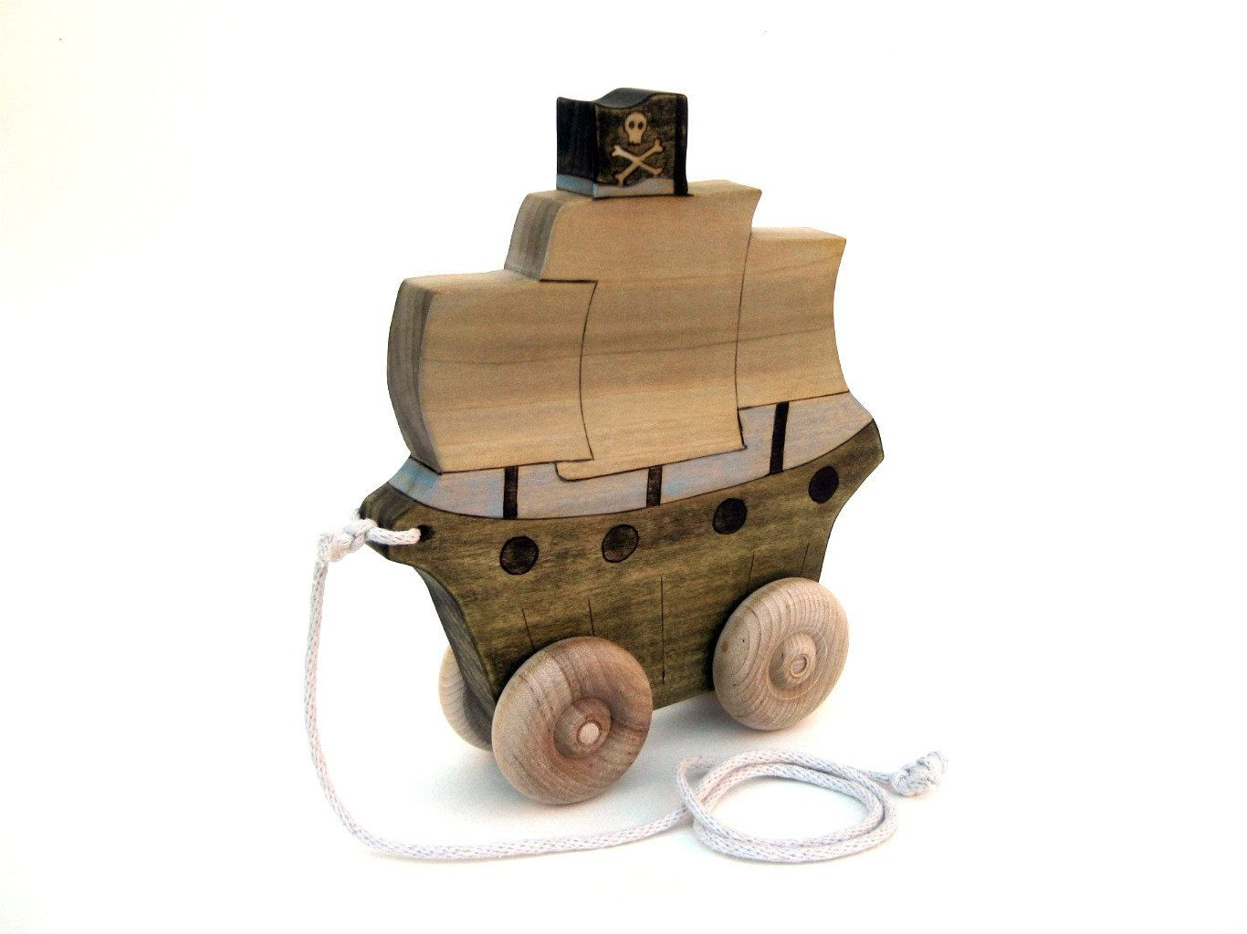 kids pirate ship pull toy push toy wooden toddler toy wooden