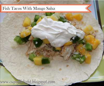 Cup of Delight: Fish Tacos with Mango Salsa and Lime Sauce (Non Spicy) {Delightfuly Morsels}