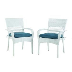 Martha Stewart Living Charlottetown White All Weather Wicker Patio Dining  Chair With Blue Cushion (2 Pack)