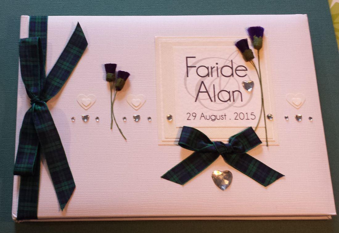 Scottish Wedding Guest Book with Thistles & Tartan.   Scottish ...