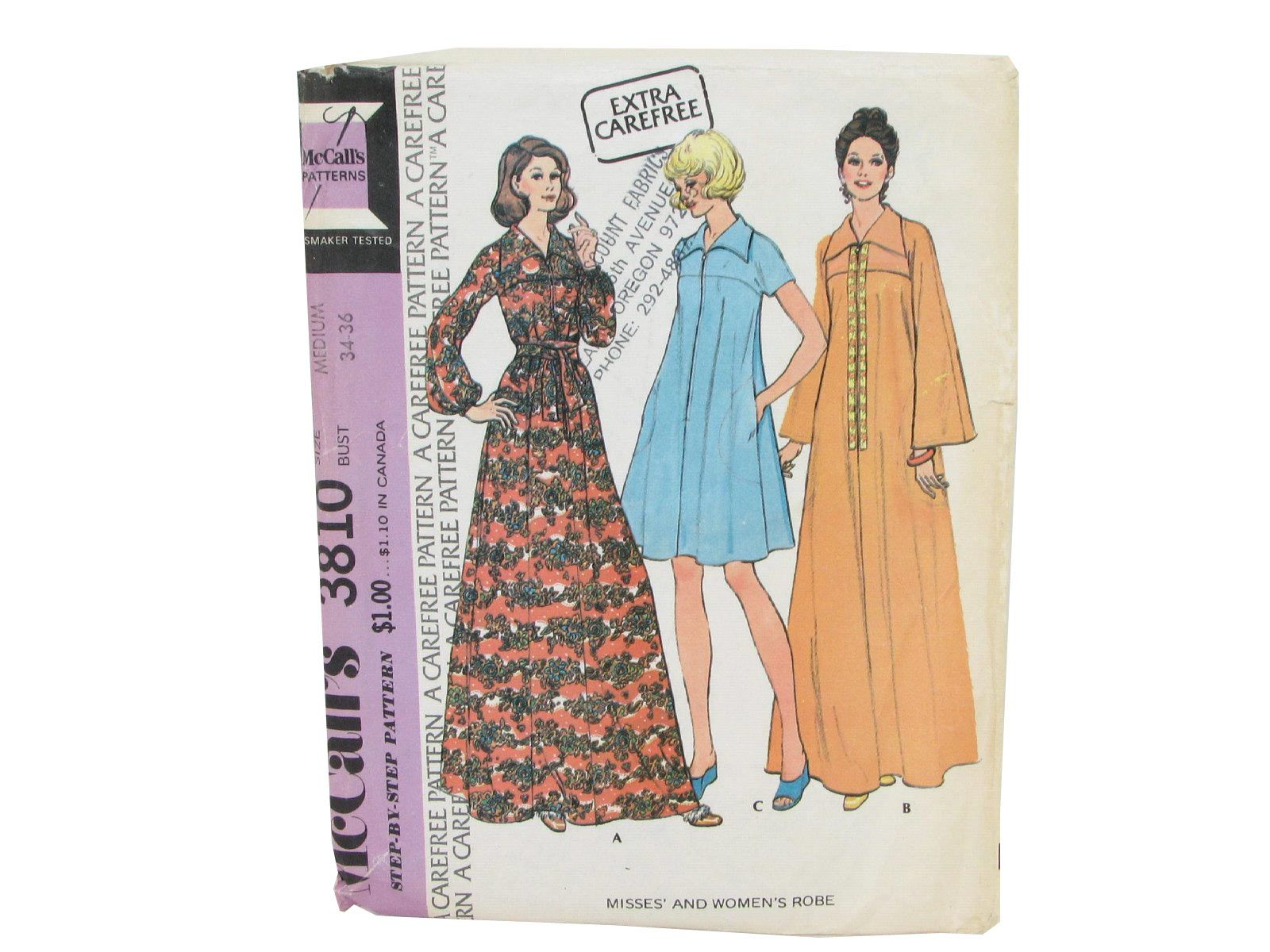 70s mccalls 3810 misses and womens robe pattern in optional 70s mccalls 3810 misses and womens robe pattern in optional lengths and sleeves jeuxipadfo Gallery