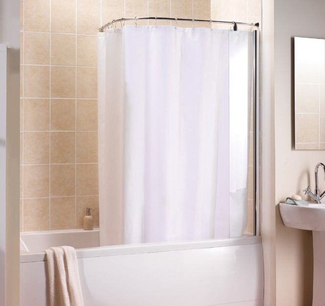 Manhattan Curved Shower Curtain And Rail With Fixed Panel Screen How To Hang A Shower Curtain Rail Shower Curtain Shower Stall Curtains