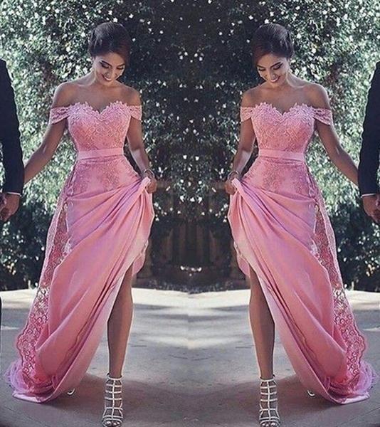 L56 Elegant One Shoulder Prom Dresses,Long Prom Dresses With Lace ...