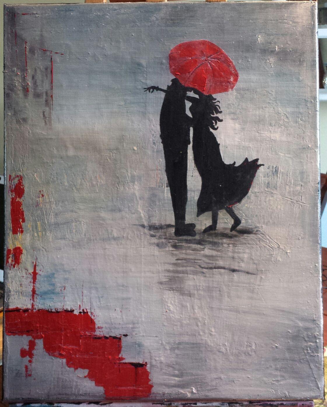 Acrylique Rouge Noire Abstrait Romantique