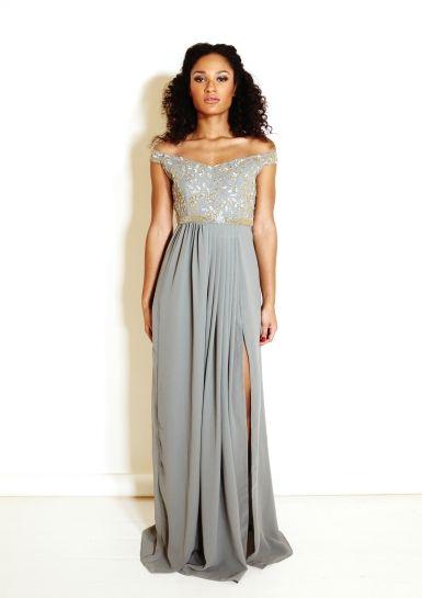 48681f74c2 Grey Off Shoulder Maxi Dress
