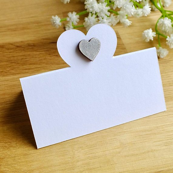 Silver Heart Wedding Place Cards Love Guest Name Seating White Wooden Tent Fold Set Of 12