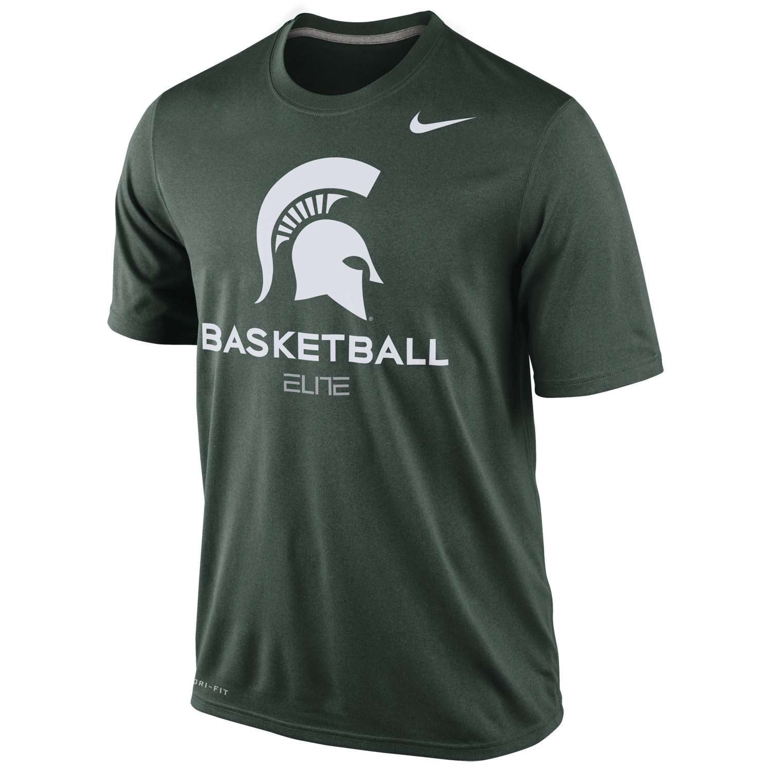 Michigan State Spartans Basketball Nike Elite Noble Green Dri-Fit Mens T- Shirt