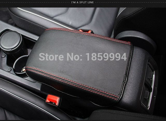 Car Armrest Storage Console Box Top Mat Liner Pad PU Leather Cover Cushion Brown