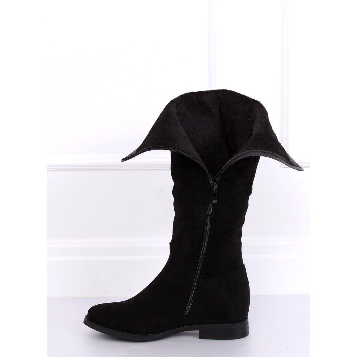 Kozaki Na Ukrytym Koturnie Czarne Nc968p Black Boots Black Boots Fashion Cowboy Boots