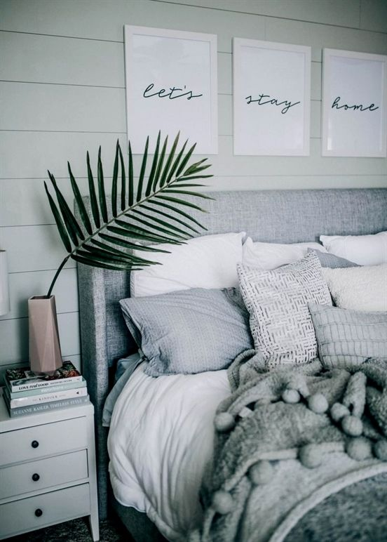 Grey And White Bedroom Decor Finds Grey Linen Headboard White