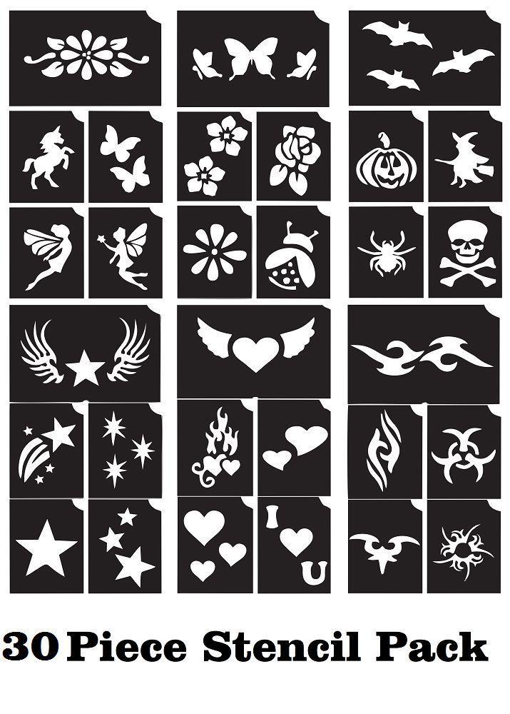 30 Piece Stencil Temporary Tattoo Glitter Henna Body Art Sticker Template New Met Afbeeldingen Glitter Tatoeages Tatoeage Stencils Sjablonen