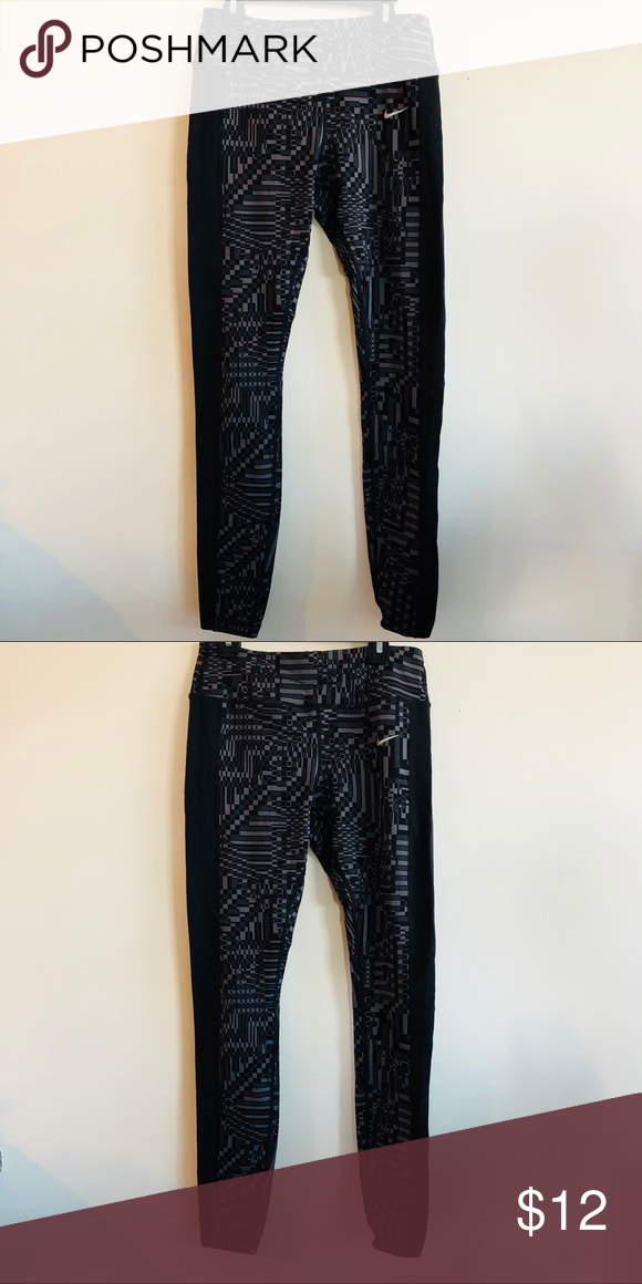 afd180d13aa1 Nike Epic Lux printed running tights Anthracite black patterned lux running  tights with a zipper on the back. Nike Pants Leggings