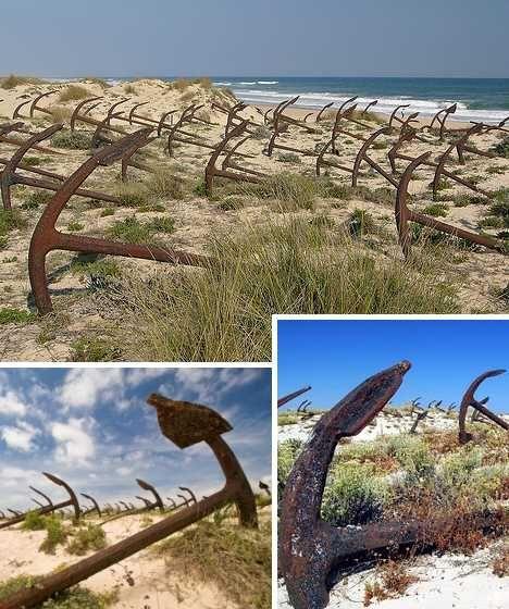 "Portugal's Cemitério das Âncoras, or ""Anchor Graveyard"", sprawls across the shifting sand dunes of Barril Beach on Tavira Island."