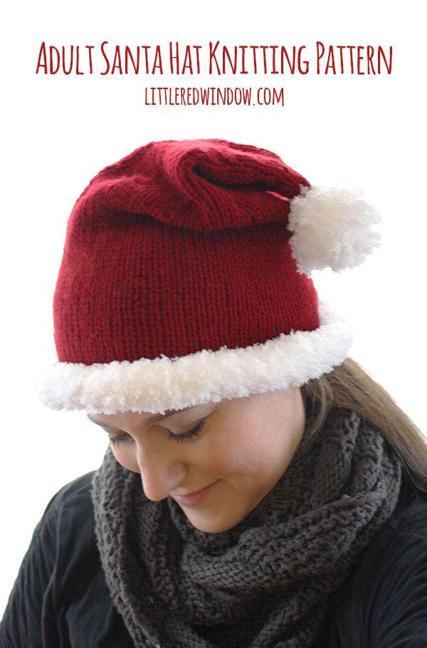 Adult Santa Hat Knitting Pattern | Garn Handwerk, Handwerk und Häckeln