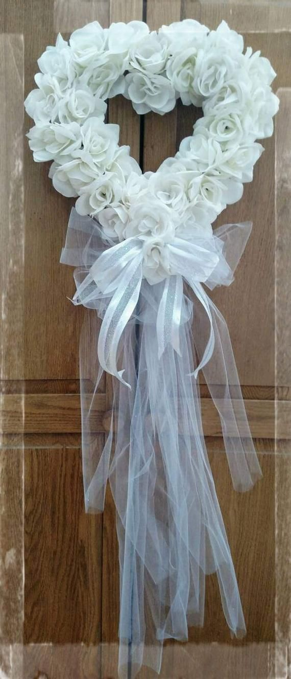 Photo of Heart rosary. Wedding wreath, bridal wreath, bridal shower wreath, valentine's day wreath, baby S.