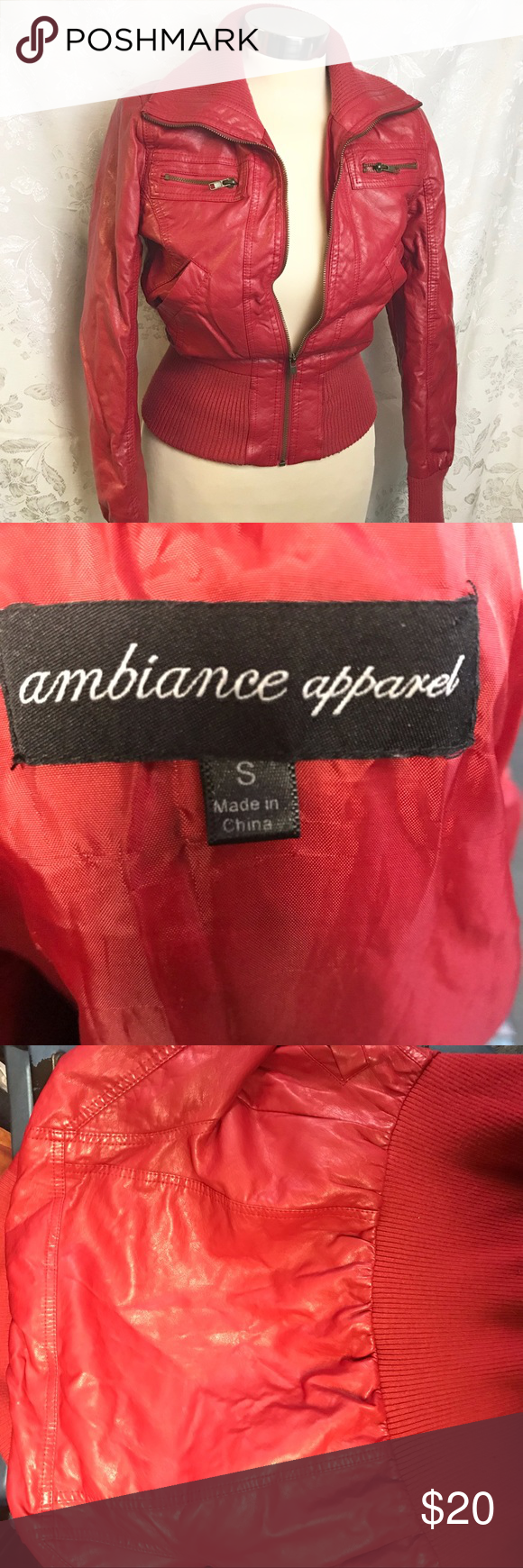 Ambiance Red Leather Like Bomber Jacket Jackets Bomber Jacket Leather Bomber Jacket [ 1740 x 580 Pixel ]