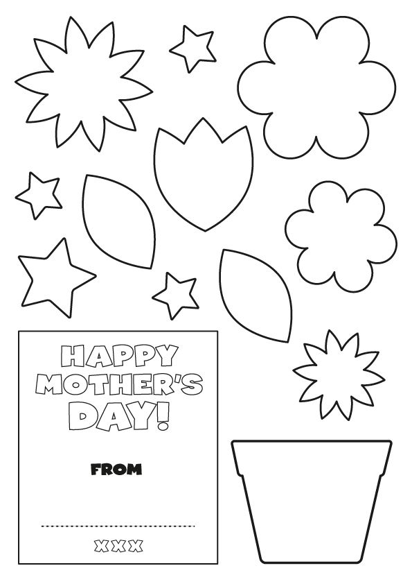 Early Play Templates Flowers Mothers Day Card Template Mothers Day Cards Flower Template