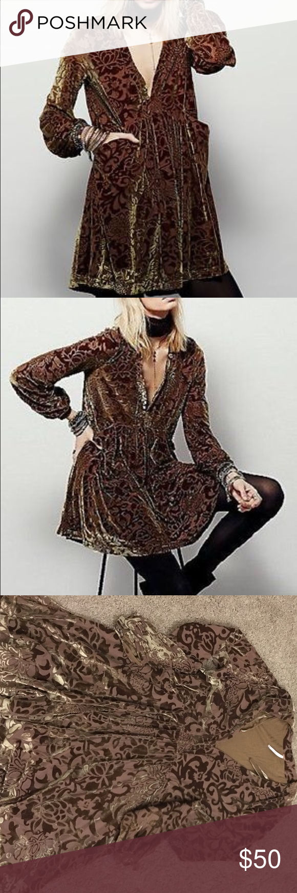 Free People All Night Mini Free People All Night Long Mini dress with long sleeves and velvet detailing. Is called green but has a yellowish-green or gold-like color depending on the light you're in. Worn once. Free People Dresses Mini