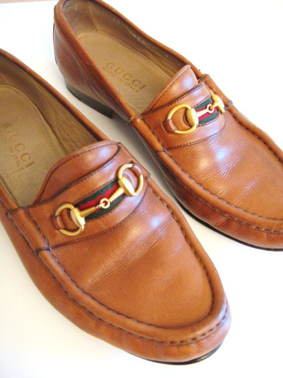e49f7201ce4 80s Vintage GUCCI HORSE BIT Designer Brown Leather Penny Loafers ...