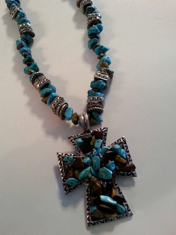 Turquoise Cross Necklace ~ Cross Necklace ~ Turquoise and Rhinestone Cross Necklace ~ Rodeo Cross Necklace ~ Western Cross Necklace by MissGawdysJewelry on Etsy