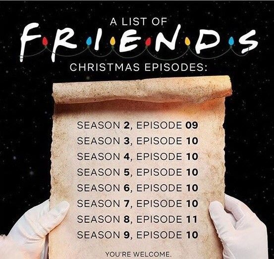 A List Of All The Christmas Episodes From Friends Friends Christmas Episode Christmas Episodes Friends Episodes