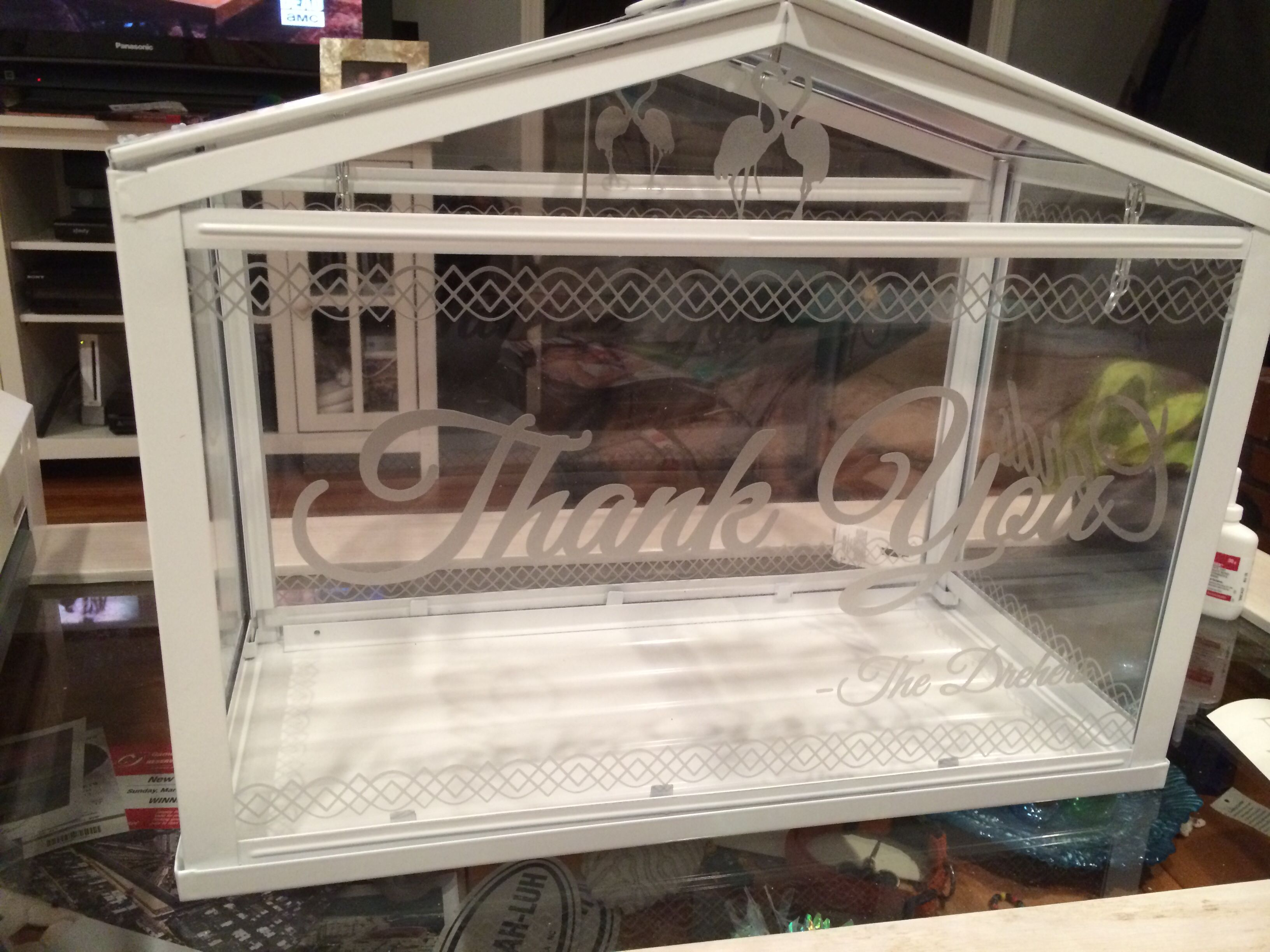 IKEA Socker Greenhouse As The Card Box. Used Silhouette Cameo With Silver  Etched Vinyl To