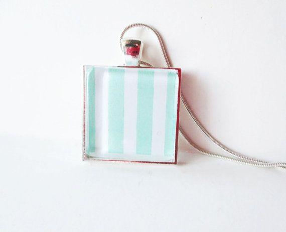 Mint stripe necklace. White stripe necklace.  by LittleBearsMom