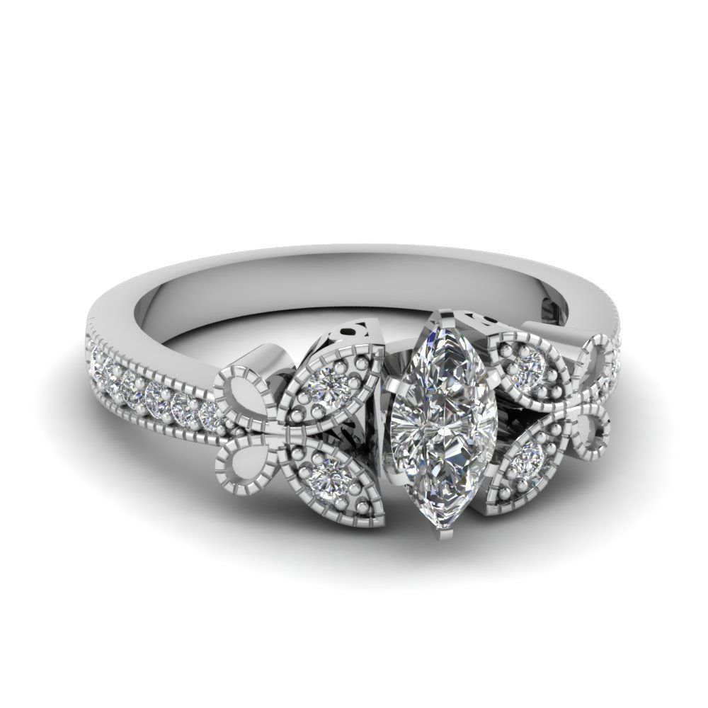 fc0532d3157f07 1 carat marquise cut diamond nature inspired engagement ring in  FDENS3077MQR NL WG