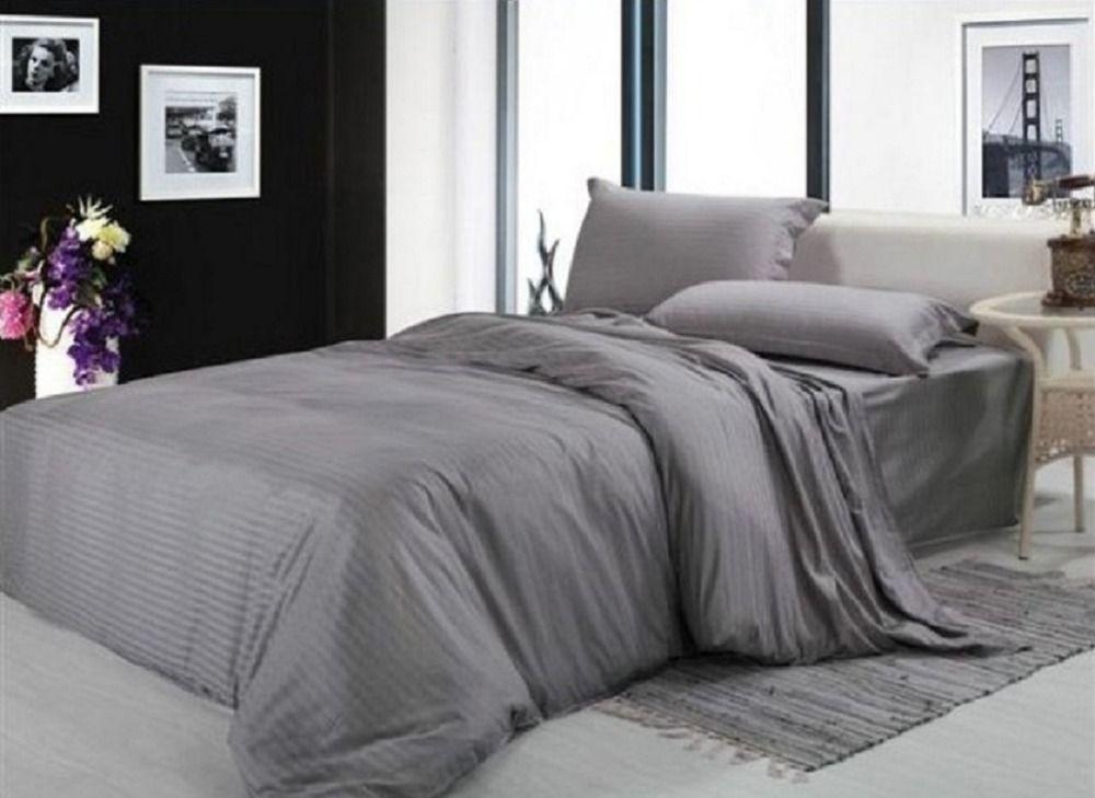 Classic Cotton Satin Stripe Plain Solid White Blue Gold Beige Hotel Linen Bedding Set Duvet Cover Set Bedclot Hotel Bedding Sets Bedding Sets Bedding Sets Grey