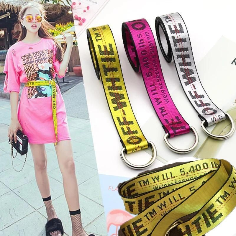 e372032a Fashion Off White Belt Tie Down Nylon Cotton Big IRON Head Industrial Belt # offwhite