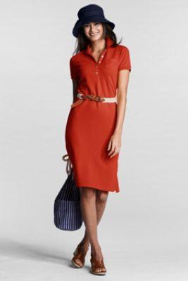 Women's Regular Short Sleeve Solid Mesh Polo Dress from Lands' End