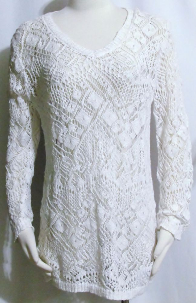 NEW Womens Ladies JOSEPH A White Cotton Open Crotchet Long Sleeve ...