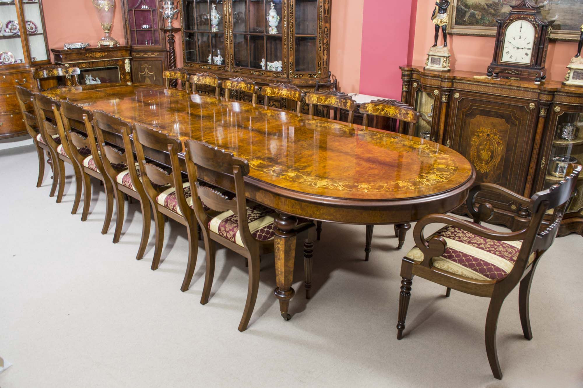 Vintage 14ft6 Burr Walnut Inlaid Dining Table 14chairs Large