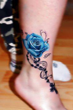 Tattoo Blaue Rose Mit Kette Und Kreuz Tatoos Tätowierungen
