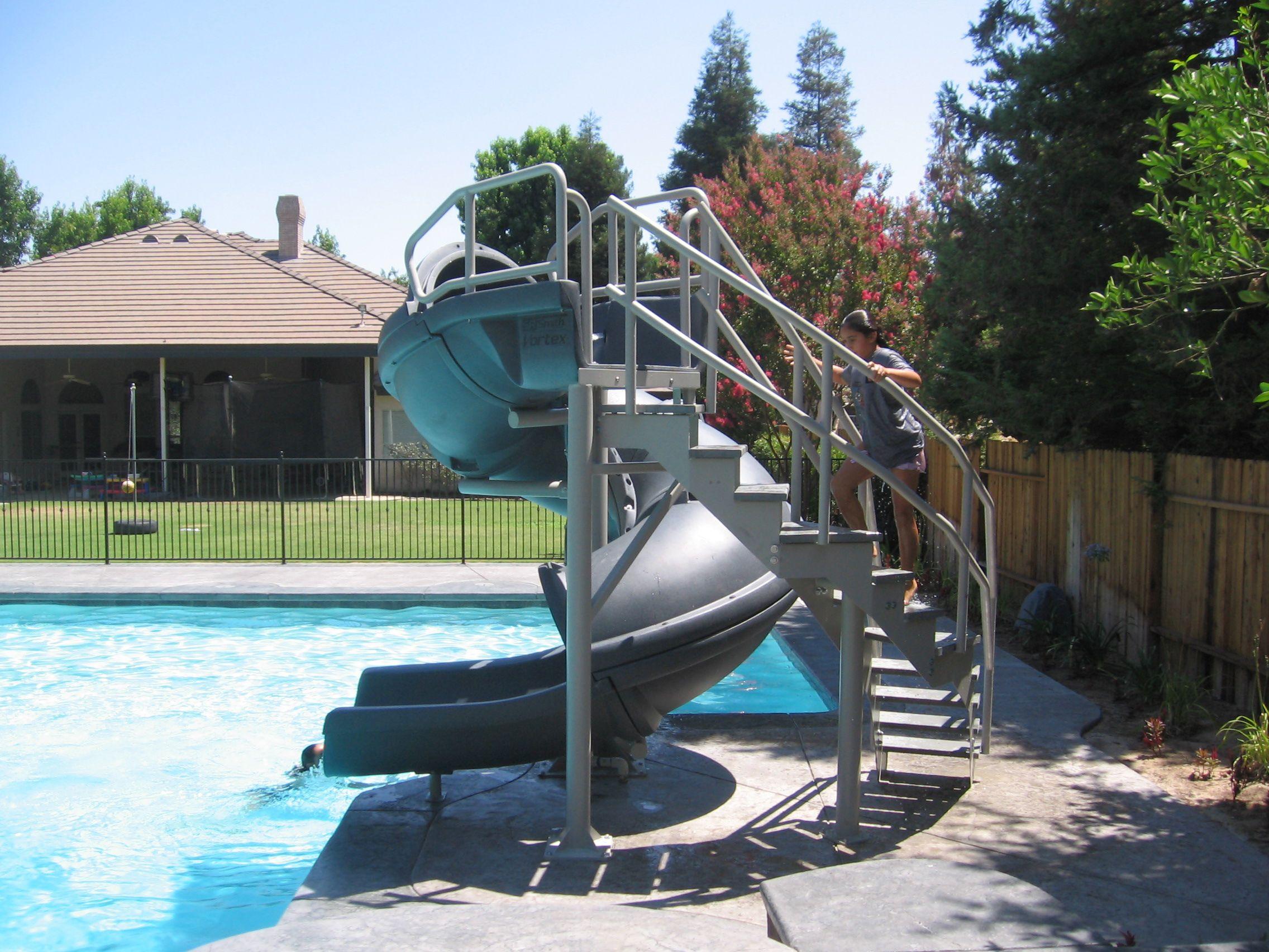 Vortex Inground Pool Slide Half Tube And Staircase Gray Granite Pool Supplies Canada Inground Pool Slides Swimming Pool Slides Modern Pools