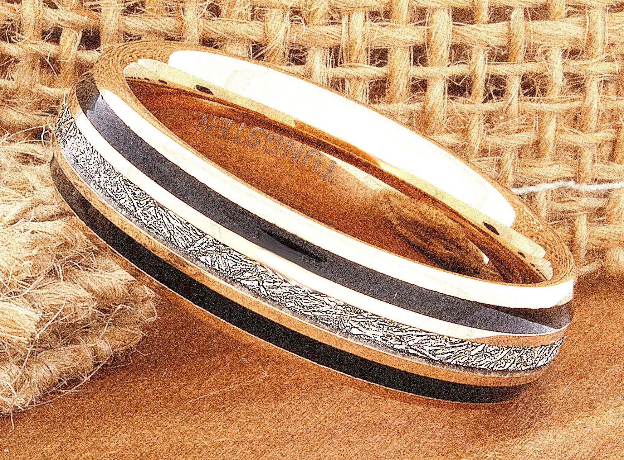 Meteorite Mens Ring, Tungsten Wedding Ring,Rose Gold