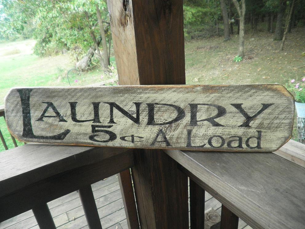 Distressed Laundry Sign Primitive Laundry Sign Wood Sign Laundry Sign  Laundry Wall