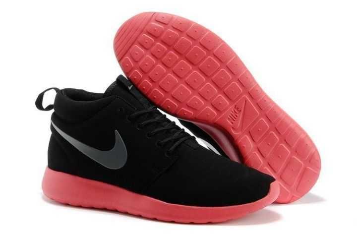 e3f0228bc049 UK Running Nike - Roshe Run Mid Mens Black Cool Gray Atomic Red Couple