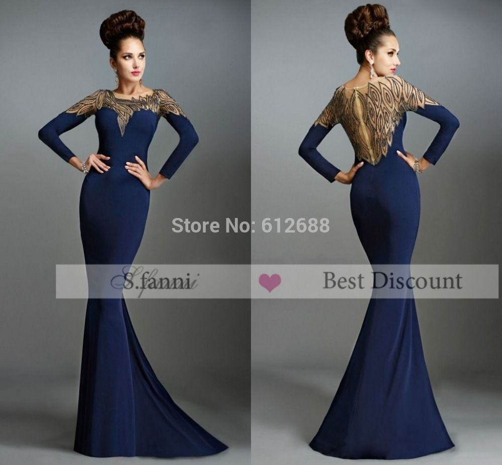 Click to buy ucuc formal event dresses oneck full sleeve beading