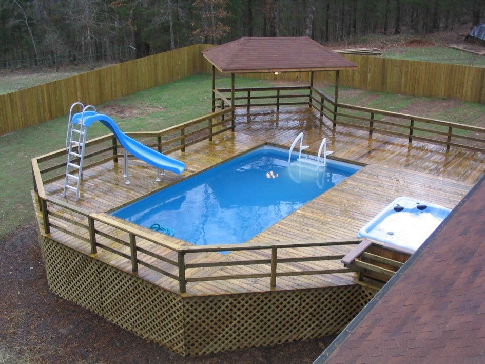 Swimming Pool Backyard Rectangular Above Ground Pool Plus Jacuzzi With Slide And Pool Ladder Steps Also Wooden Deck Wi Bovengronds Zwembad Zwembaden Tuin Deco