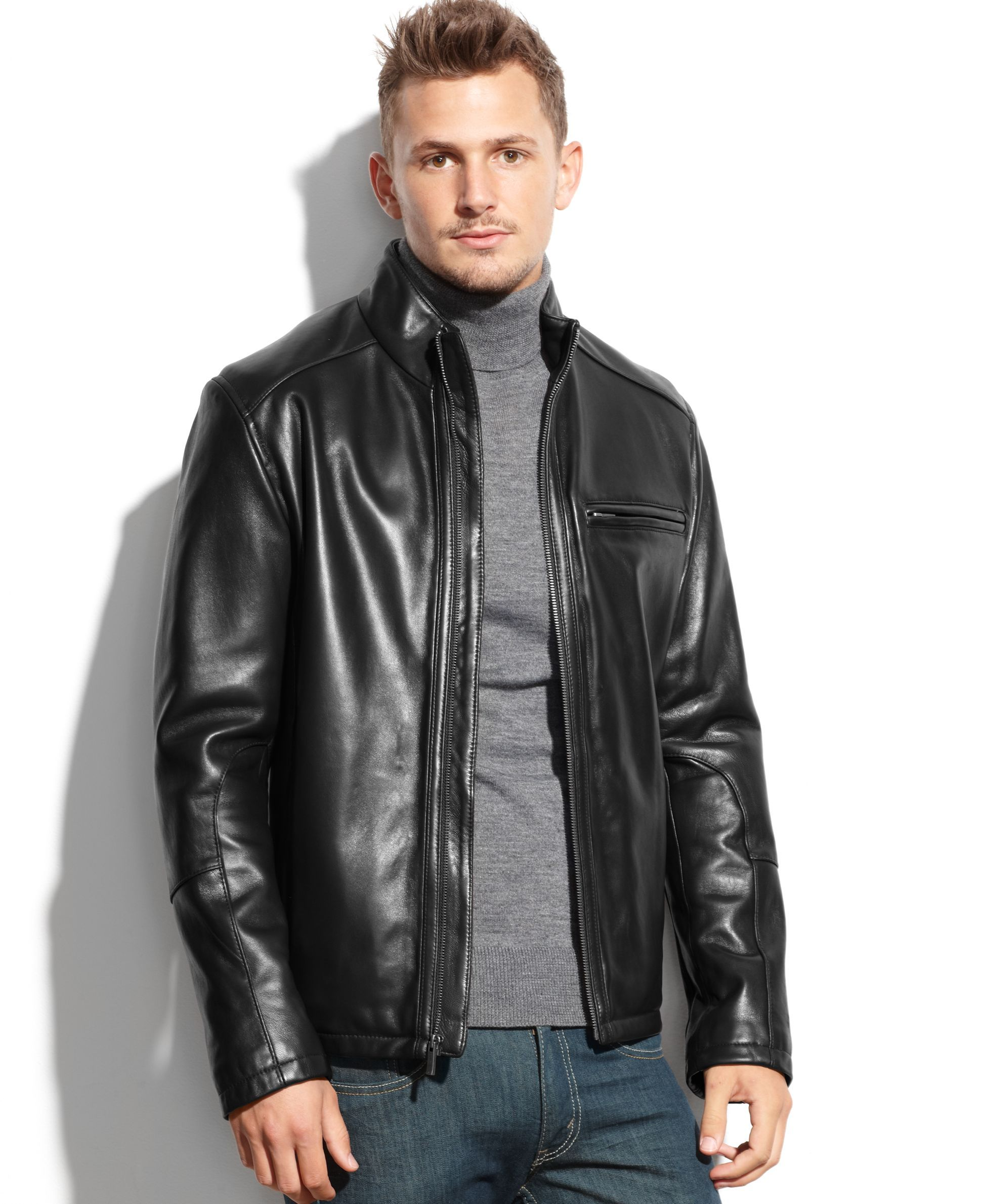 f9ff6ff0888f Cole Haan Smooth Leather Moto Jacket | Riders, Leather Wear #5 in ...