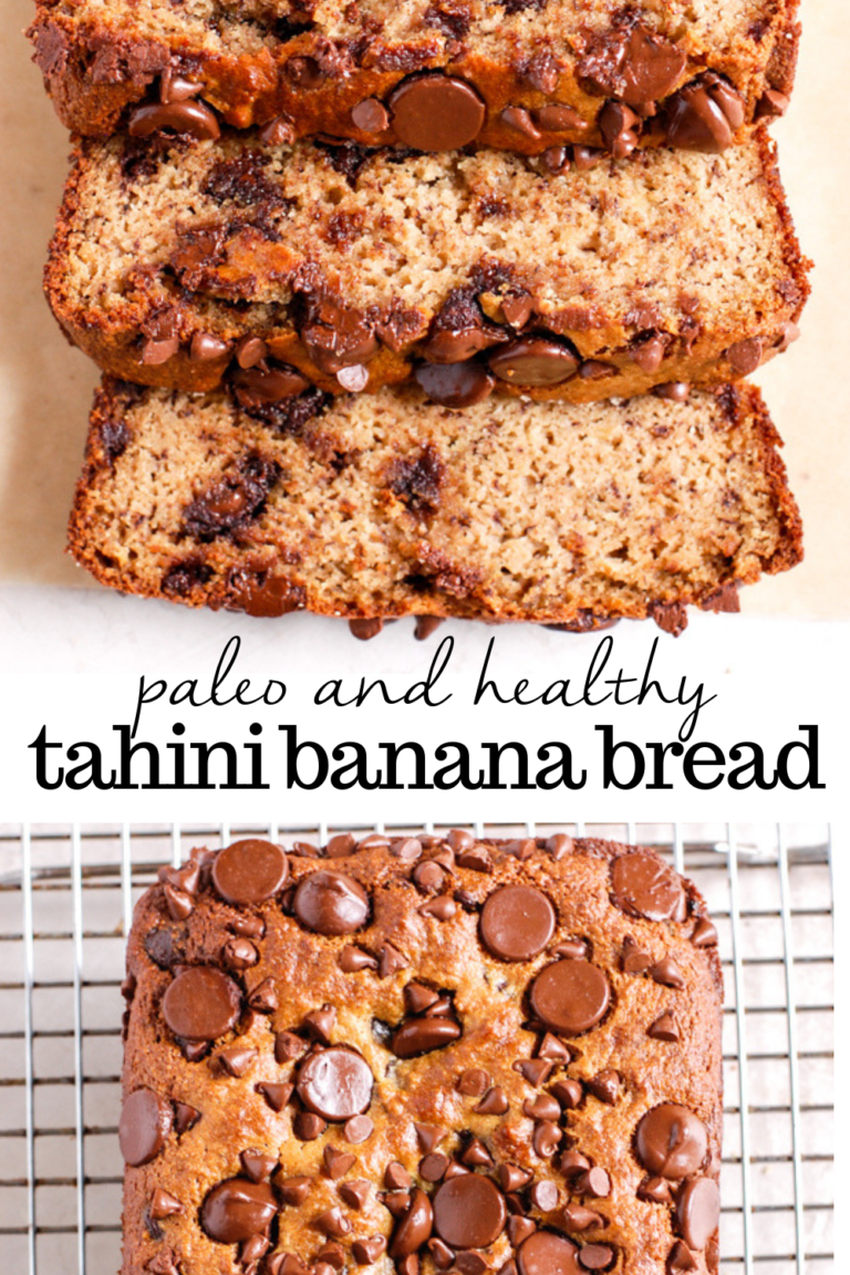 Tahini Chocolate Chip Banana Bread (Gluten-free, dairy-free) This moist gluten free paleo tahini banana bread is made with almond flour, tahini, maple syrup, and only a few other simple ingredients. It is the best healthy banana bread and is so easy to make! |