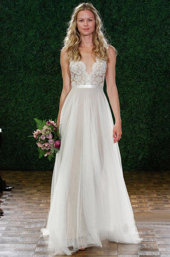 Love This White V Neck Lace Chiffon Floor Length Wedding Dress